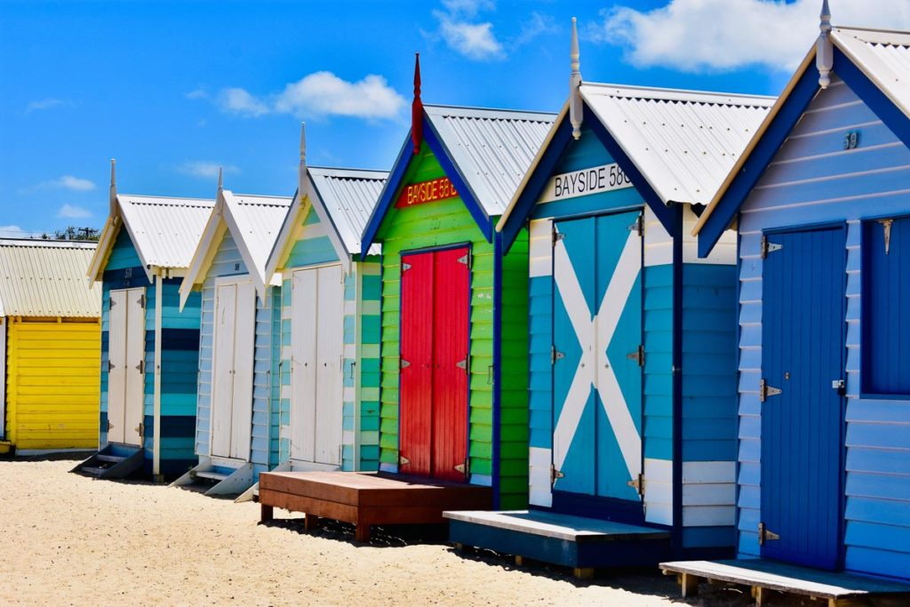 The Brighton Beach bathing boxes are one of Melbourne's most iconic sights