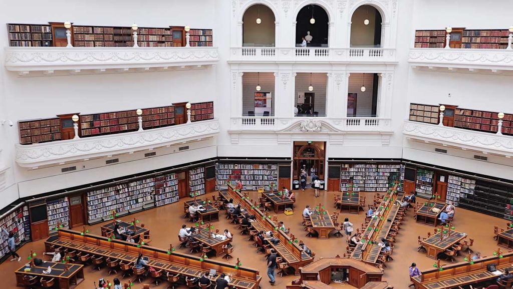 The La Trobe Reading Room at the State Library in Melbourne is a beautiful buildings to visit in Melbourne