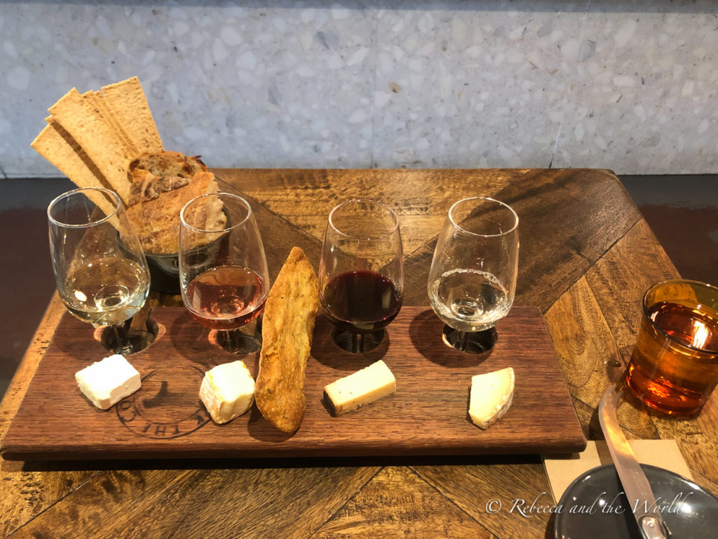 A wine and cheese flight from Milk the Cow in Carlton, one of the best fromageries in Melbourne