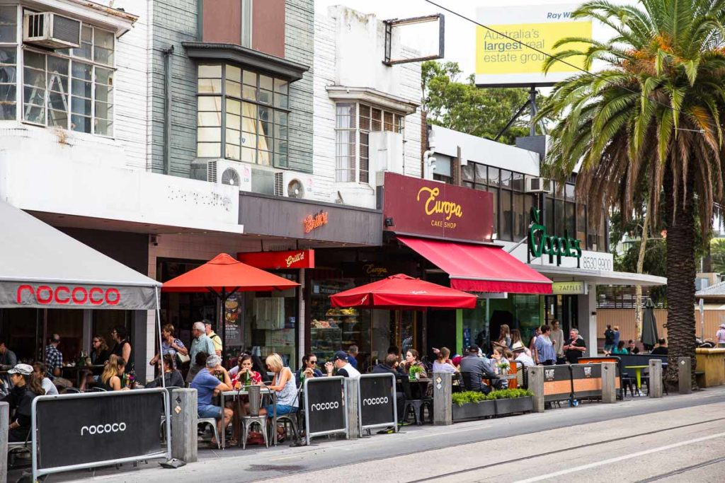Acland Street in St Kilda is one of the best places to eat in Melbourne