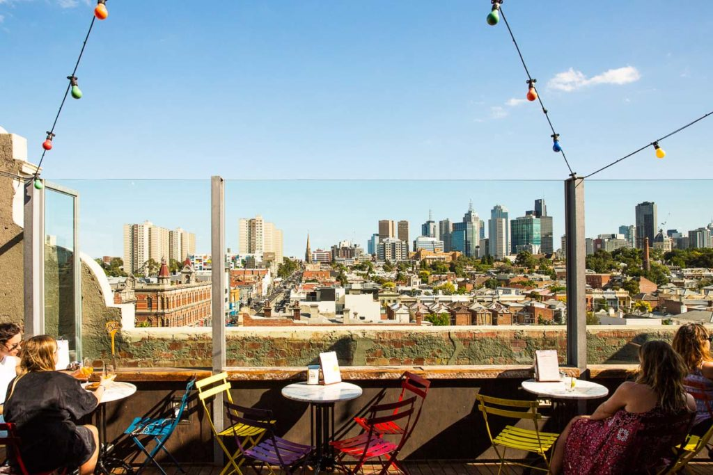 The views of Melbourne city from the rooftop bar of Naked For Satan are incredible, especially on a sunny day