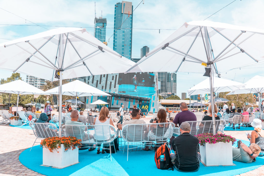 Fed Square offers plenty of free things to do in Melbourne - including airing sporting events outdoors