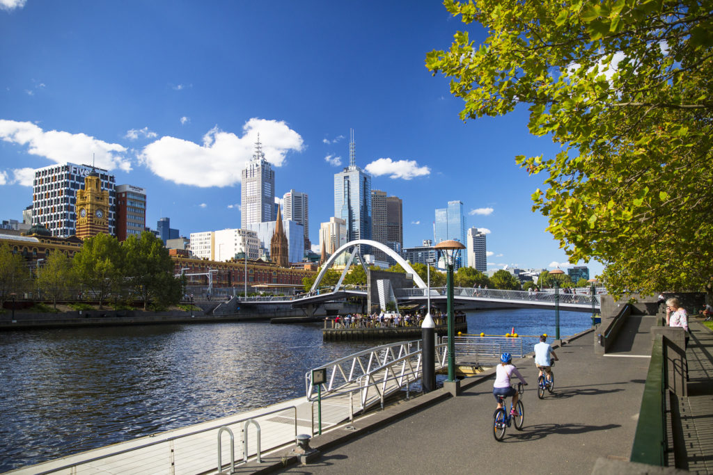 Cycling along the Yarra River is one of the best things to do in Melbourne with kids