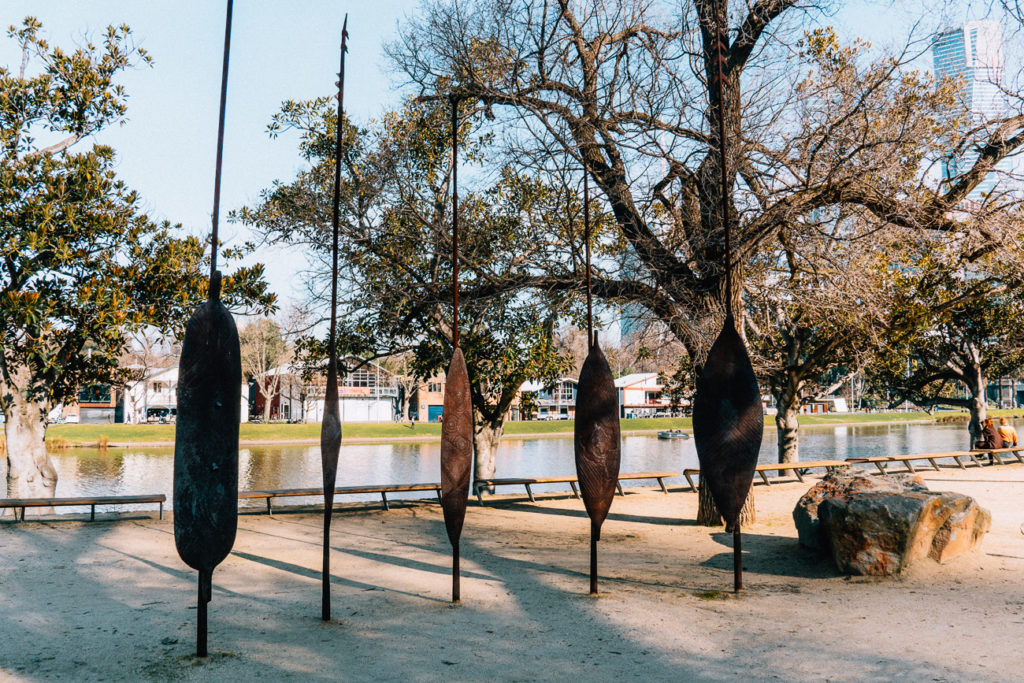 Wander along Birrarung Marr to see Aboriginal art in Melbourne, including the five shields representing the five language groups of the Kulin Nation